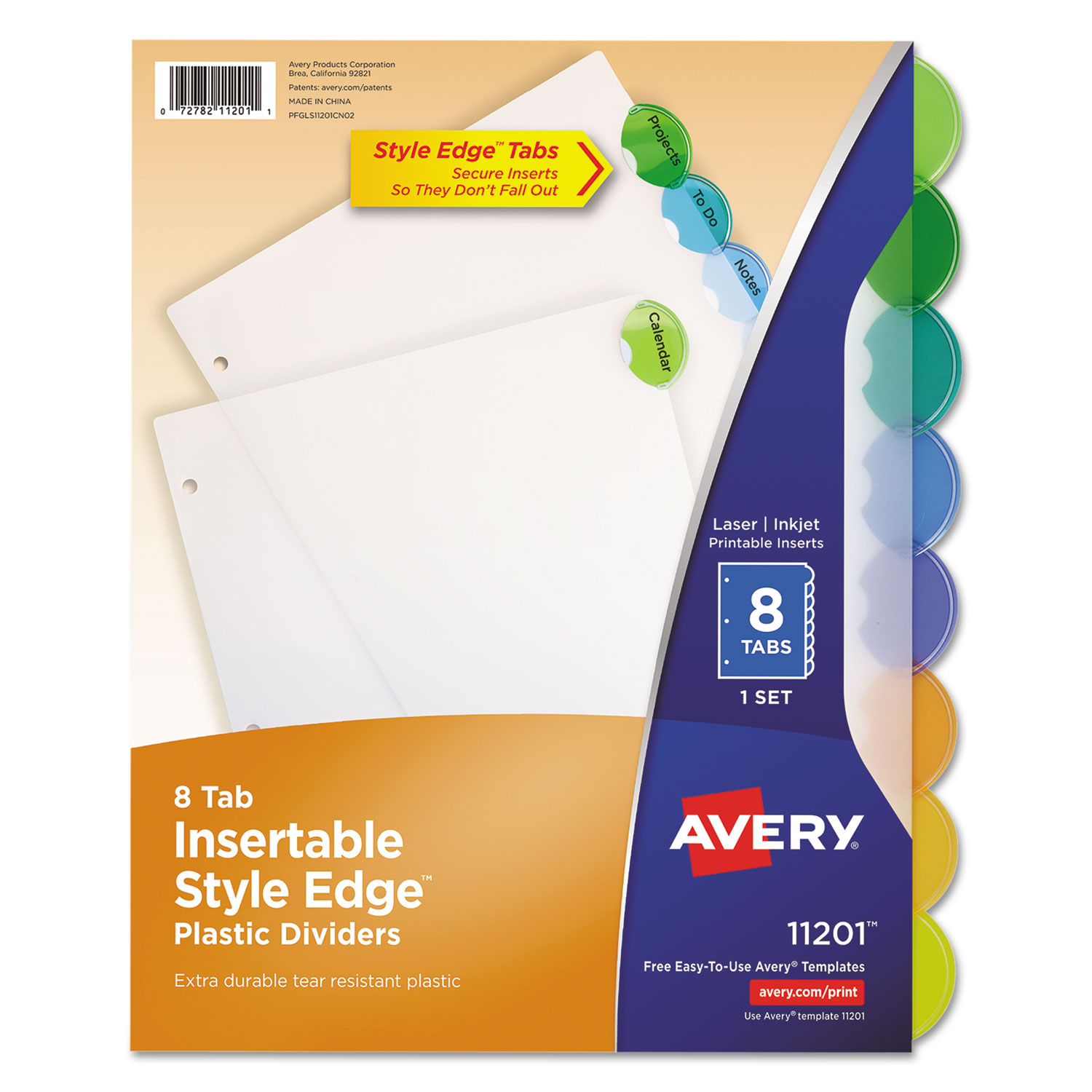 Insertable Style Edge Tab Plastic Dividers By Avery Ave11201