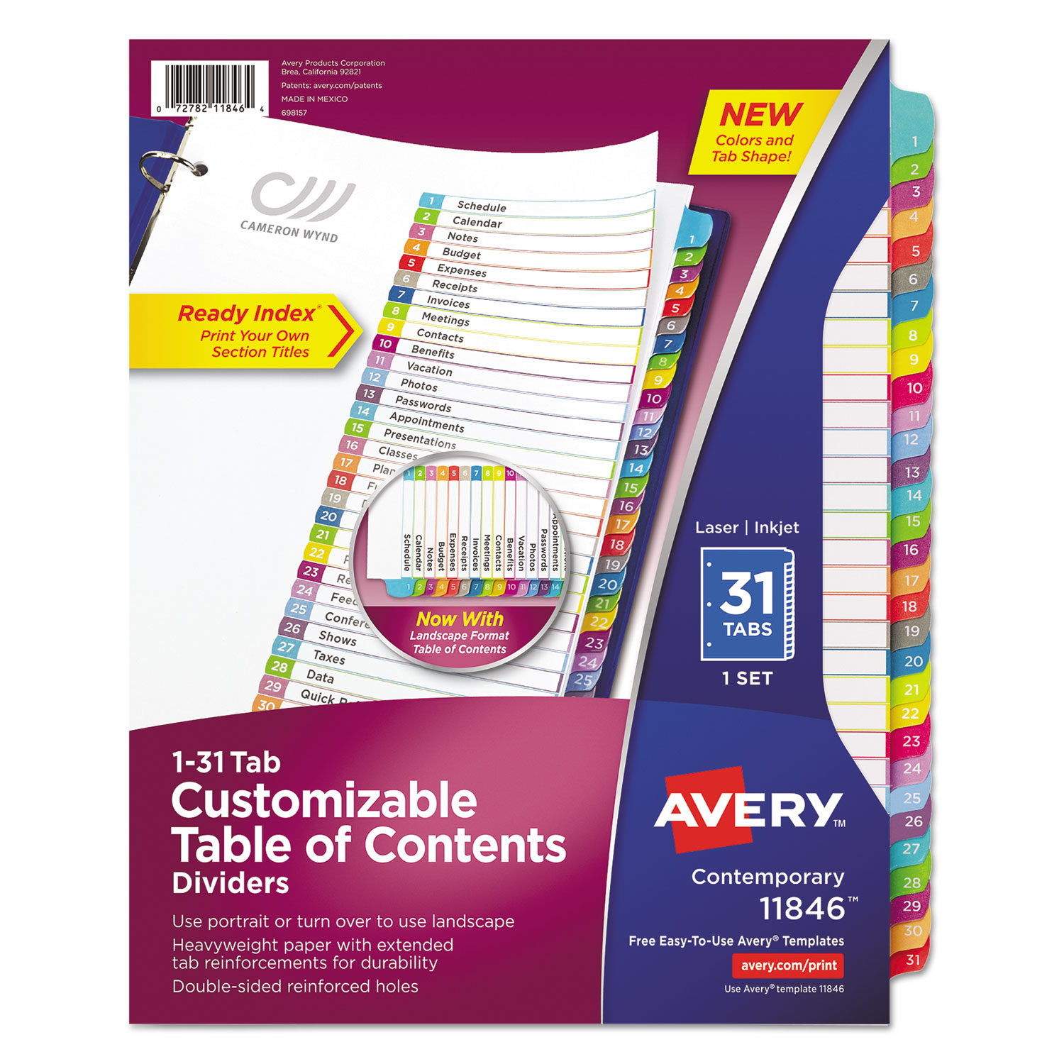 Customizable TOC Ready Index Multicolor Dividers, 1-31, Letter