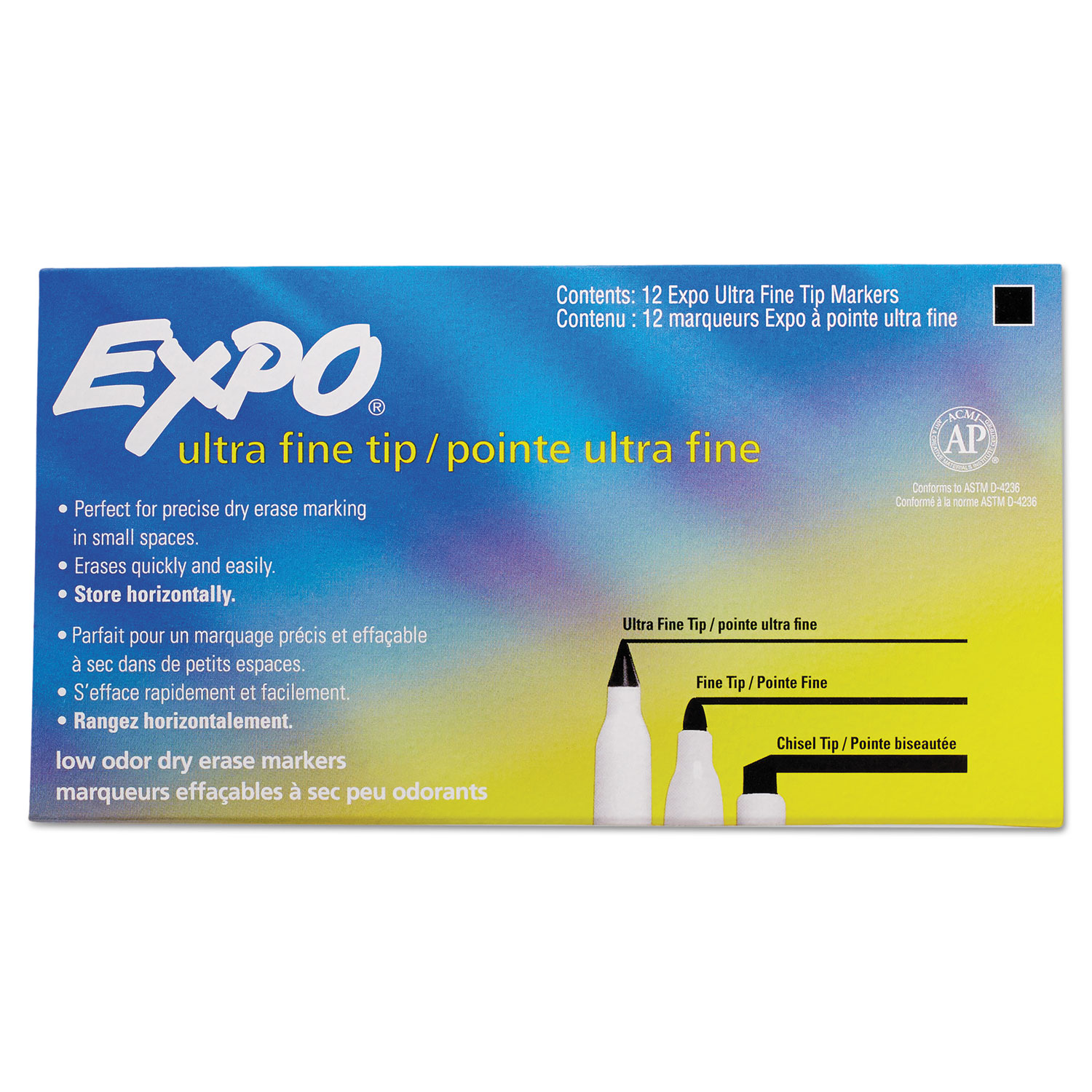 Low-Odor Dry-Erase Marker, Extra-Fine Needle Tip, Black