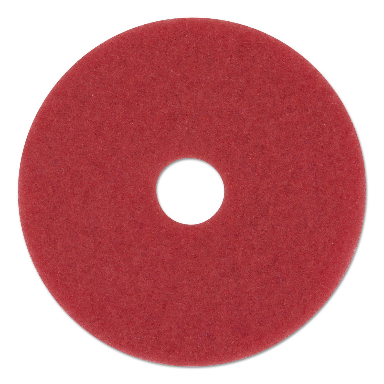 "Buffing Floor Pads, 12"" Diameter, Red, 5/Carton"