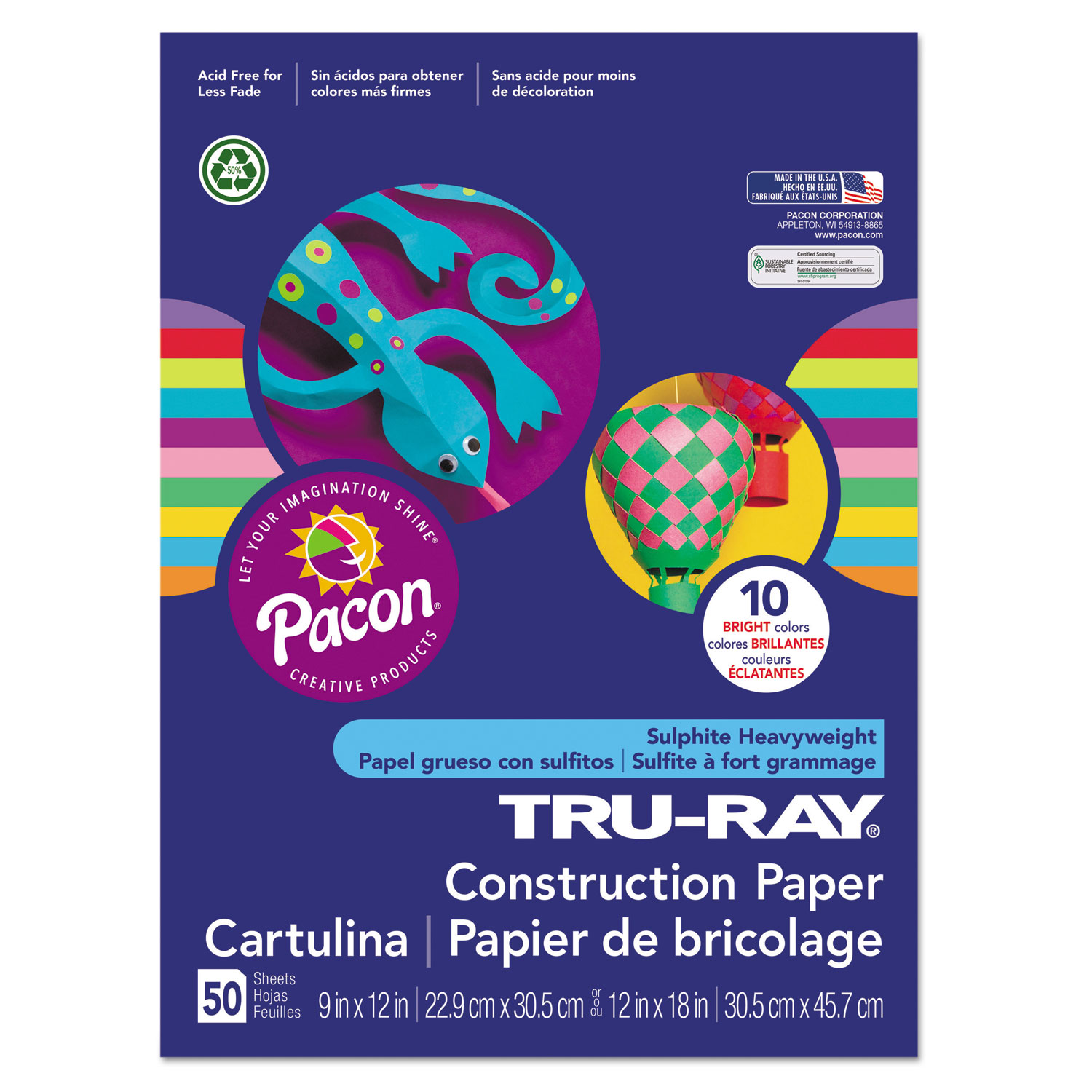 "Sulphite Project Gold Tru-Ray Construction Paper 12/"" x 9/"" 50 // Pack"