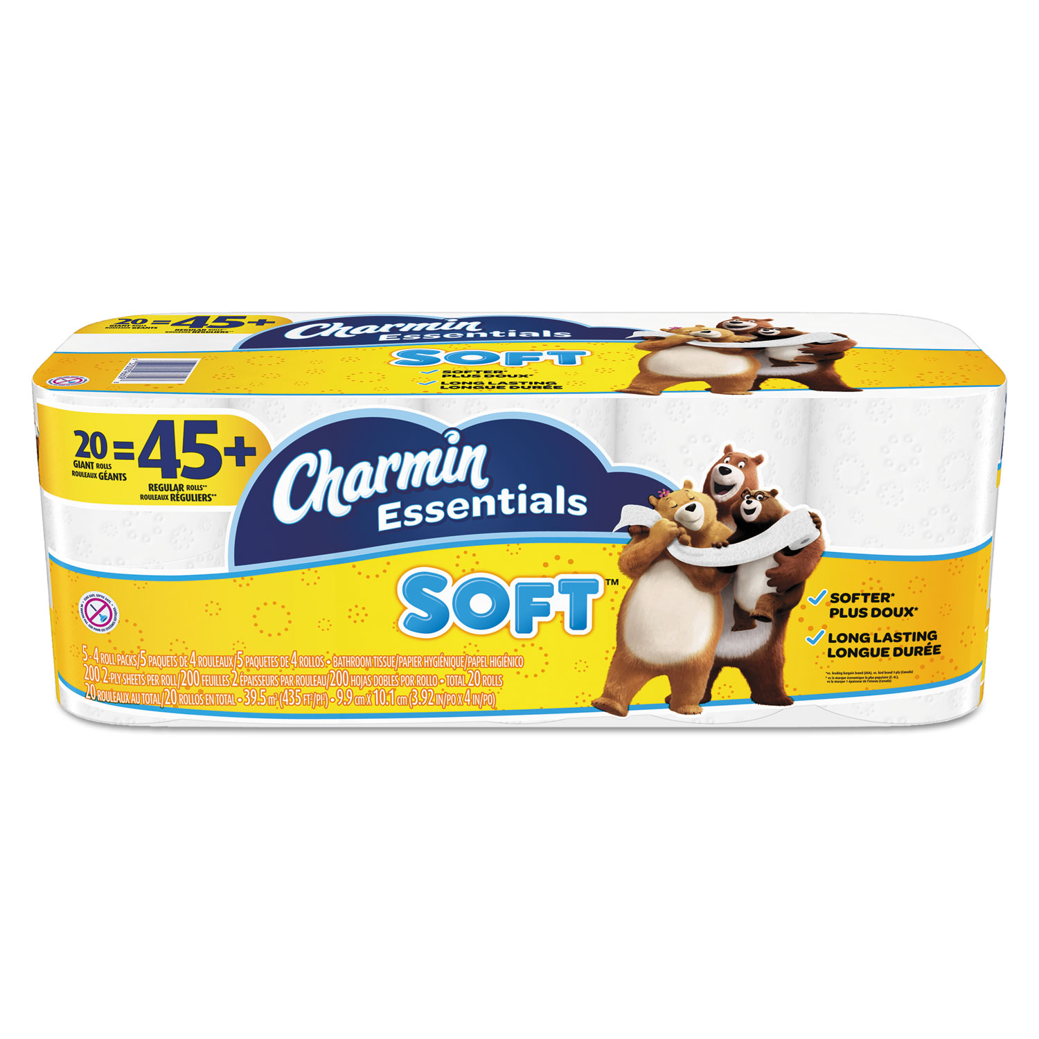 Essentials Soft Bathroom Tissue, Septic Safe, 2-Ply, White, 4 x 3.92, 200/Roll, 20 Roll/Pack
