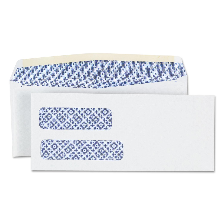 Double Window Business Envelope, #9,  Blade Flap, Gummed Closure, 3.88 x 8.88, White, 500/Box