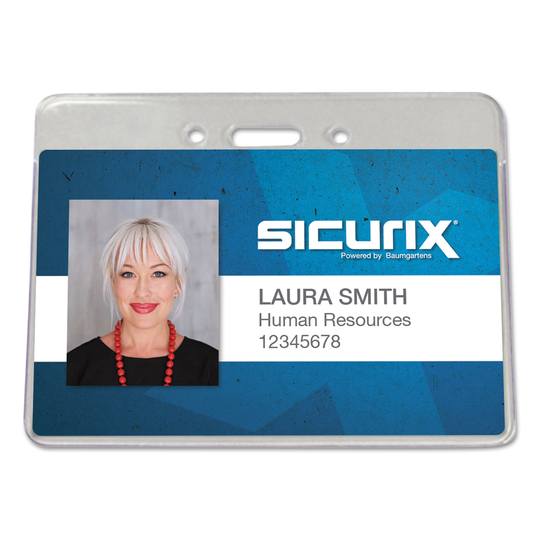 Sicurix Proximity Badge Holder, Horizontal, 4w x 3h, Clear, 50/Pack
