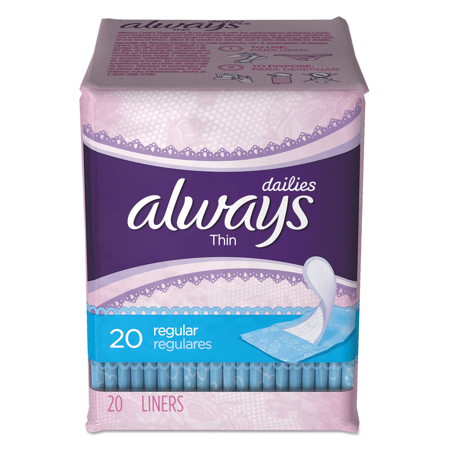 Thin Daily Panty Liners, Regular, 20/Pack, 24 Packs/Carton