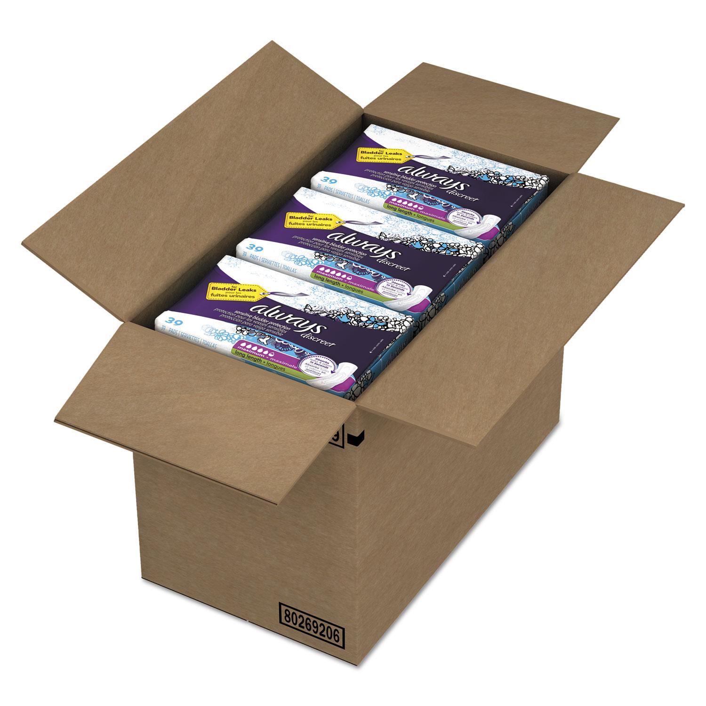 Discreet Sensitive Bladder Protection Pads, Maximum, Extra Long, 39/Pk,3Pk/Ctn