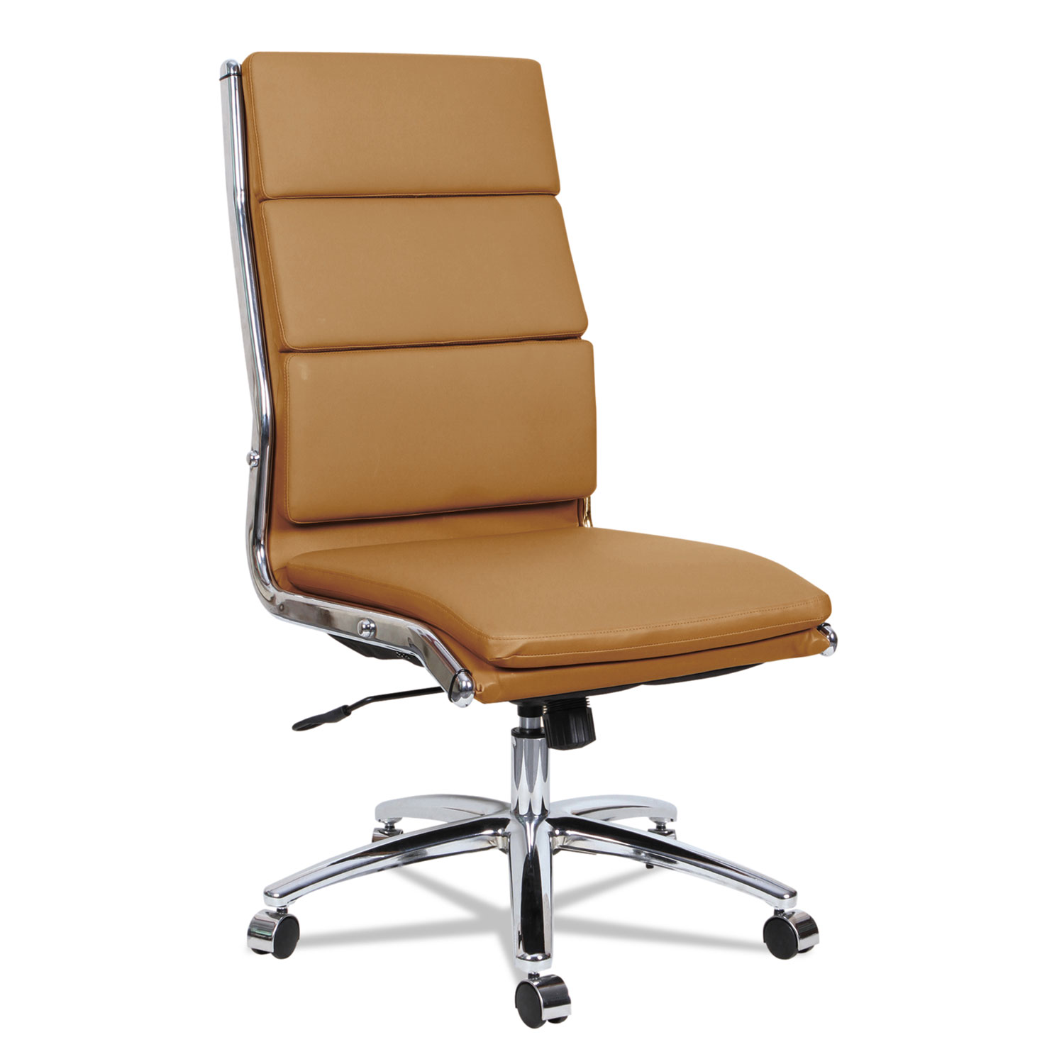 Alera Neratoli High Back Slim Profile Chair Camel Soft Leather Chrome Frame