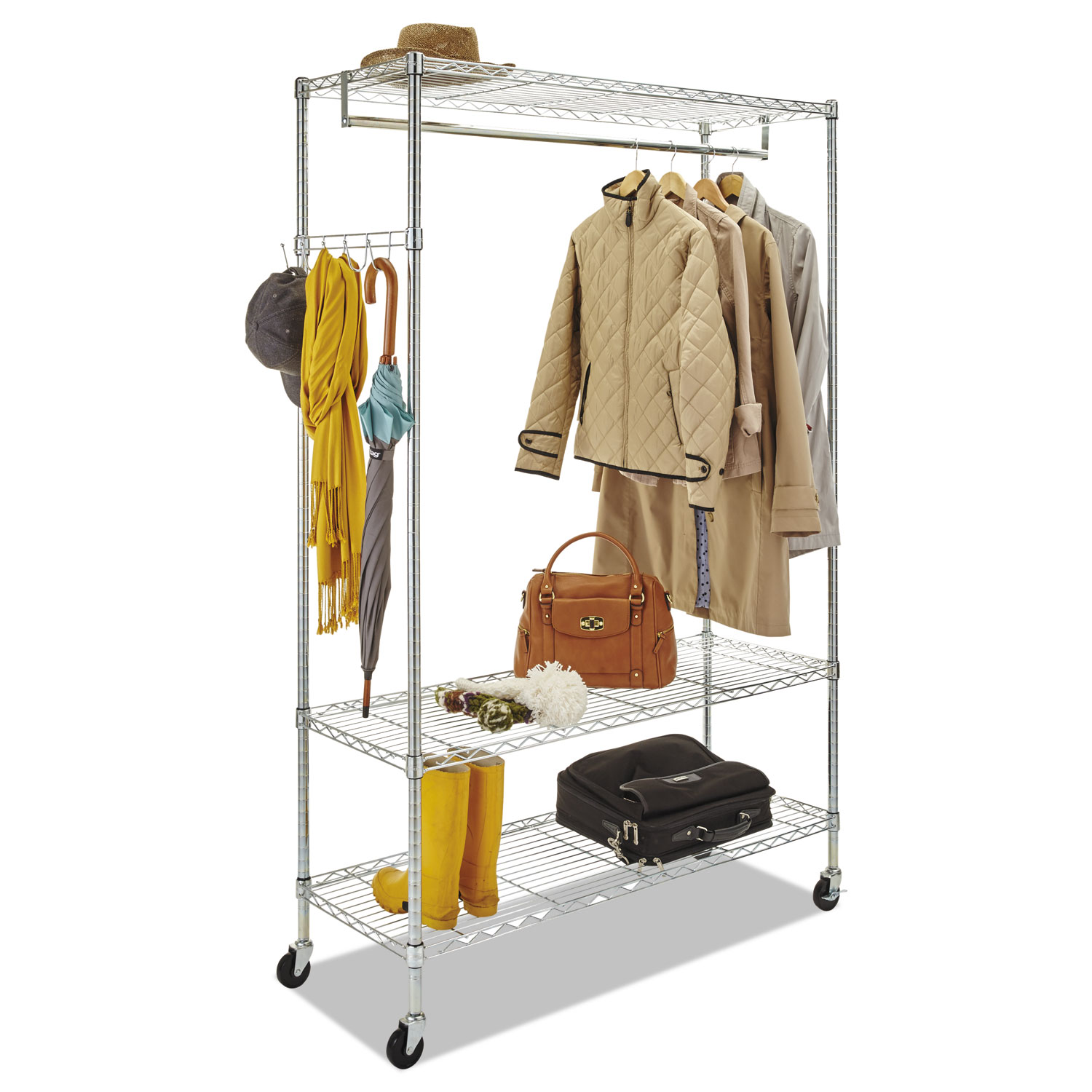 wire shelving garment rack by alera alegr364818sr. Black Bedroom Furniture Sets. Home Design Ideas