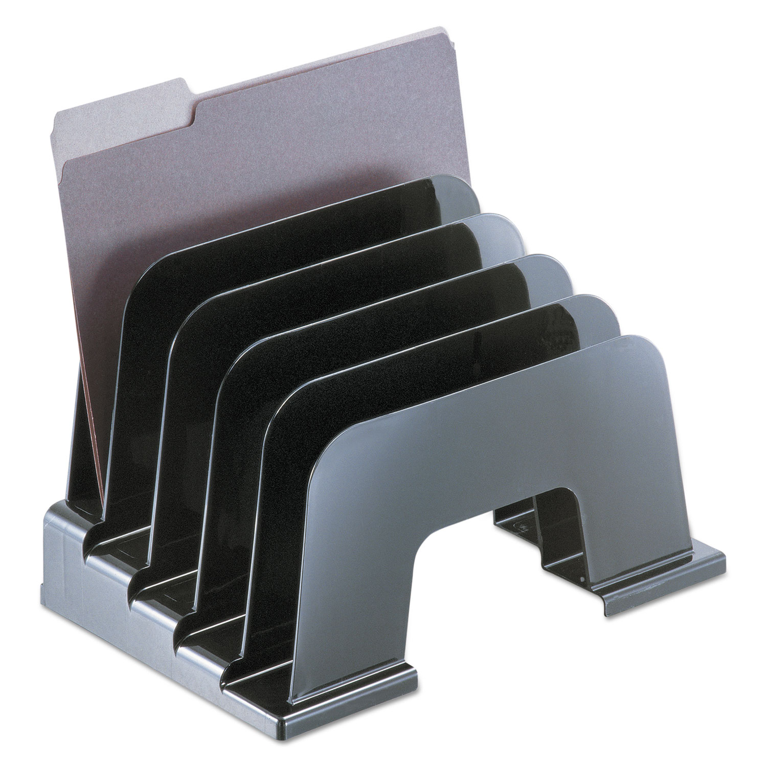 """Recycled Plastic Incline Sorter, 5 Sections, Letter Size Files, 13.25"""" x 9"""" x 9"""", Black"""
