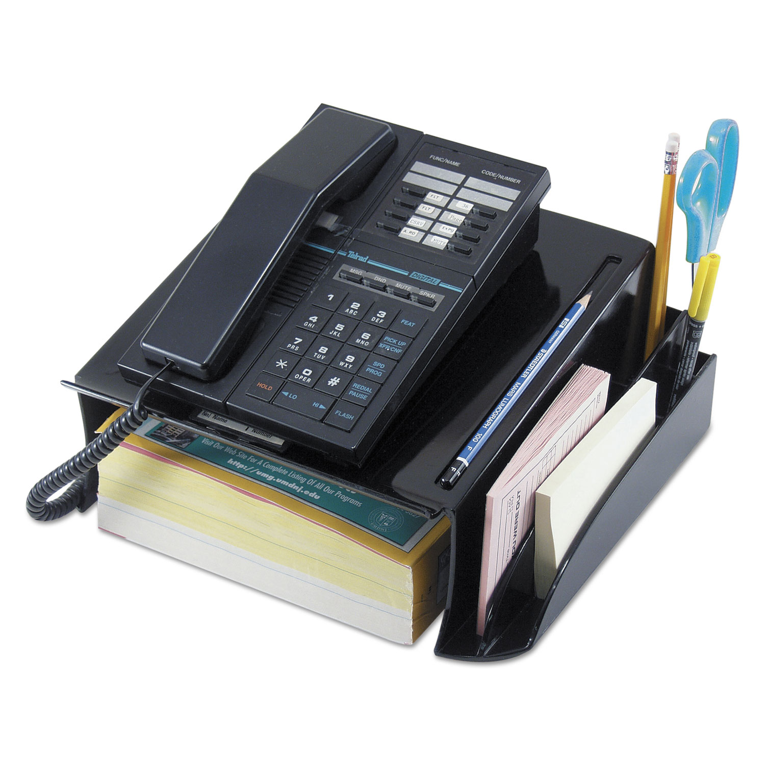Telephone Stand and Message Center, 12 1/4 x 10 1/2 x 5 1/4, Black