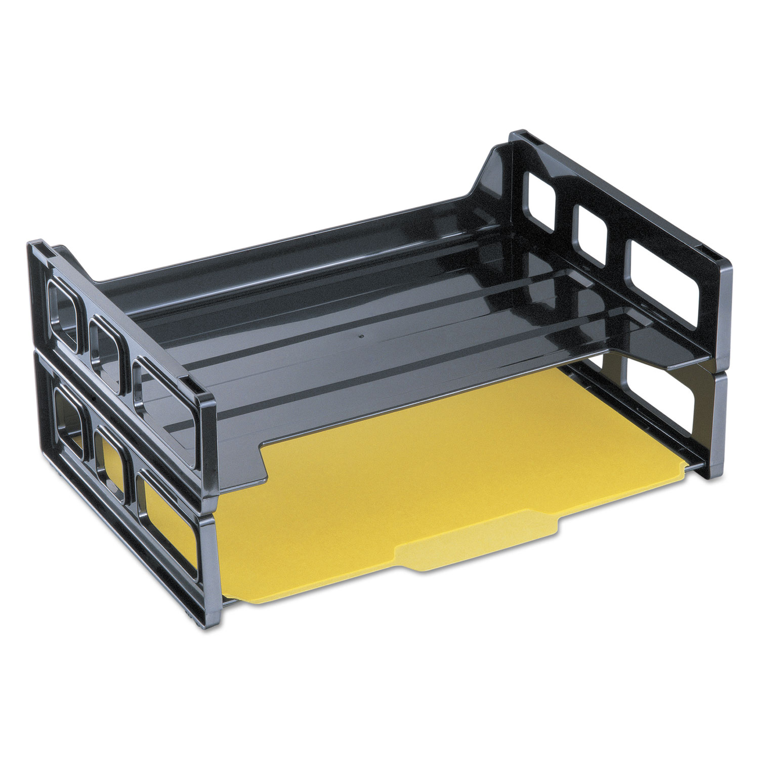 """Recycled Plastic Side Load Desk Trays, 2 Sections, Letter Size Files, 13"""" x 9"""" x 2.75"""", Black"""