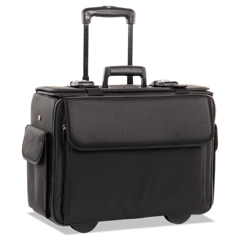 Catalog/Computer Case on Wheels, Nylon, 18 x 8 x 13, Black