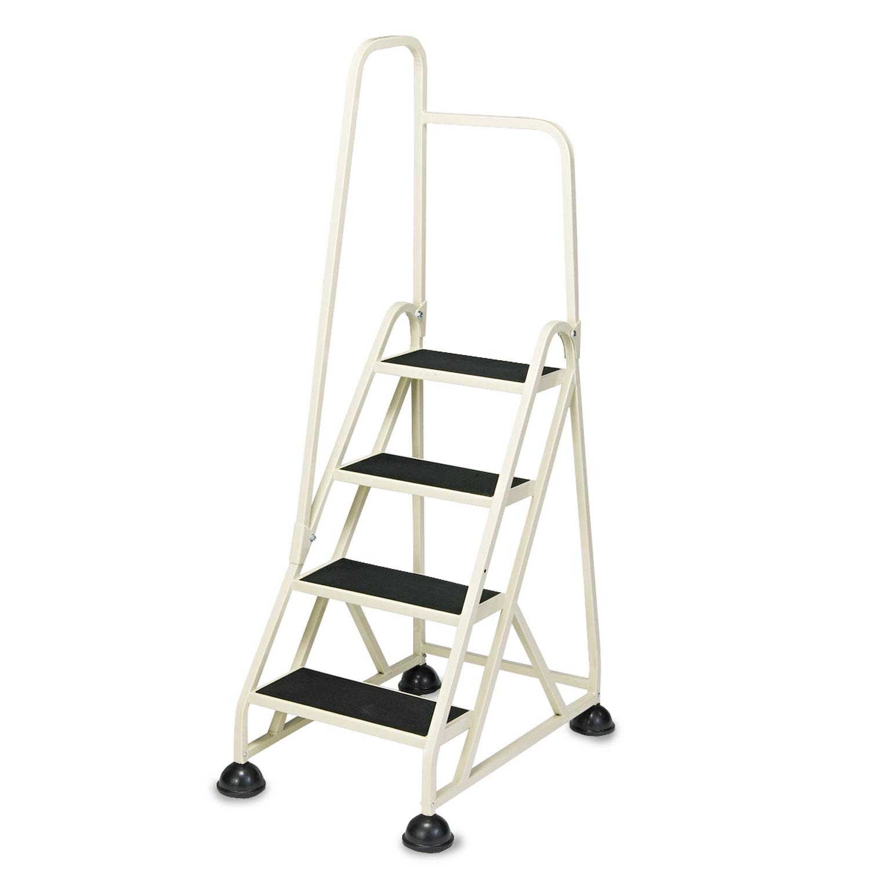 "Stop-Step Ladder, 66.25"" Working Height, 300 lbs Capacity, 4 Step, Beige"