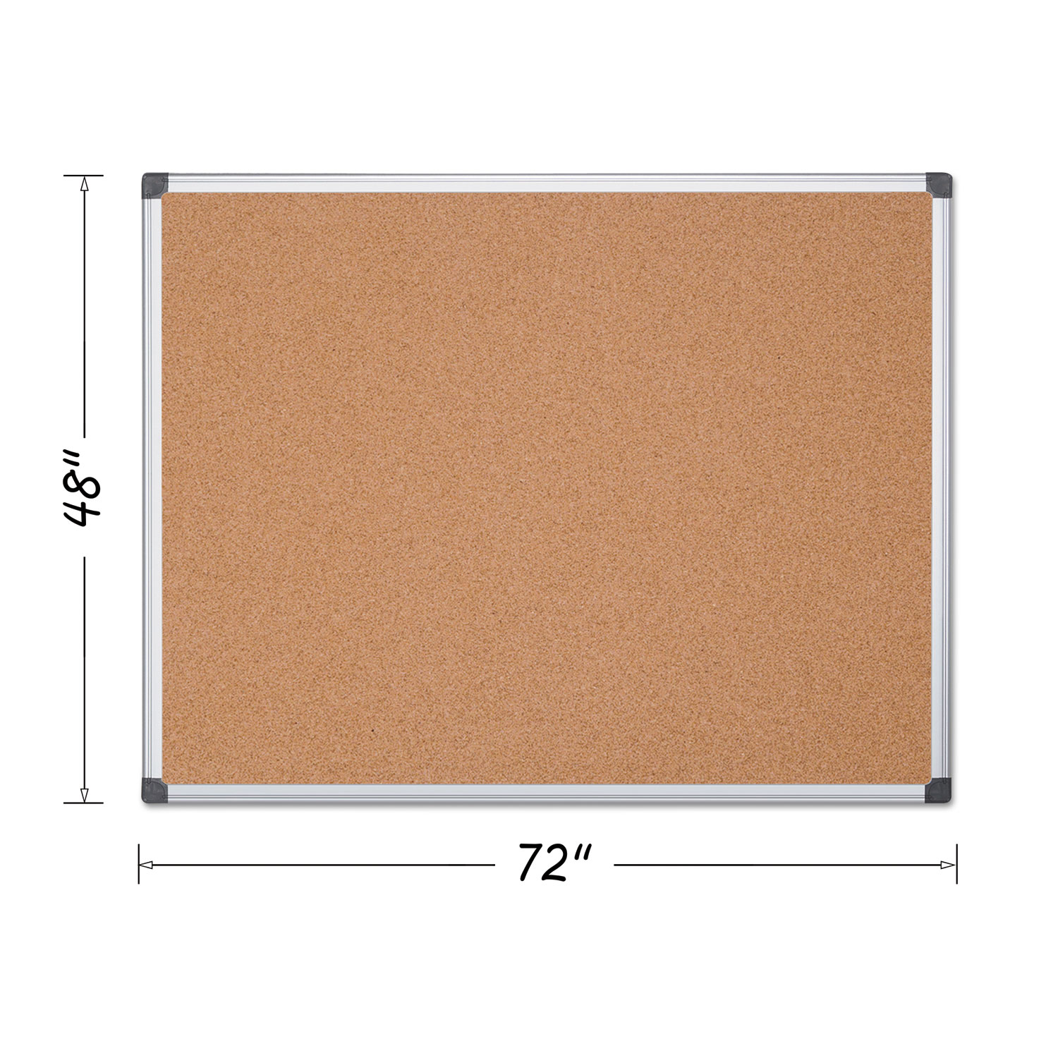 Value Cork Bulletin Board with Aluminum Frame, 48 x 72, Natural