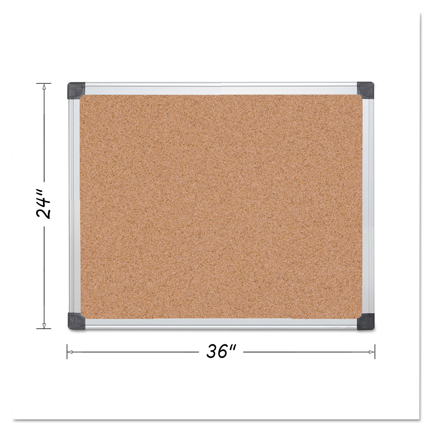Value Cork Bulletin Board With Aluminum Frame 24 X 36 Natural