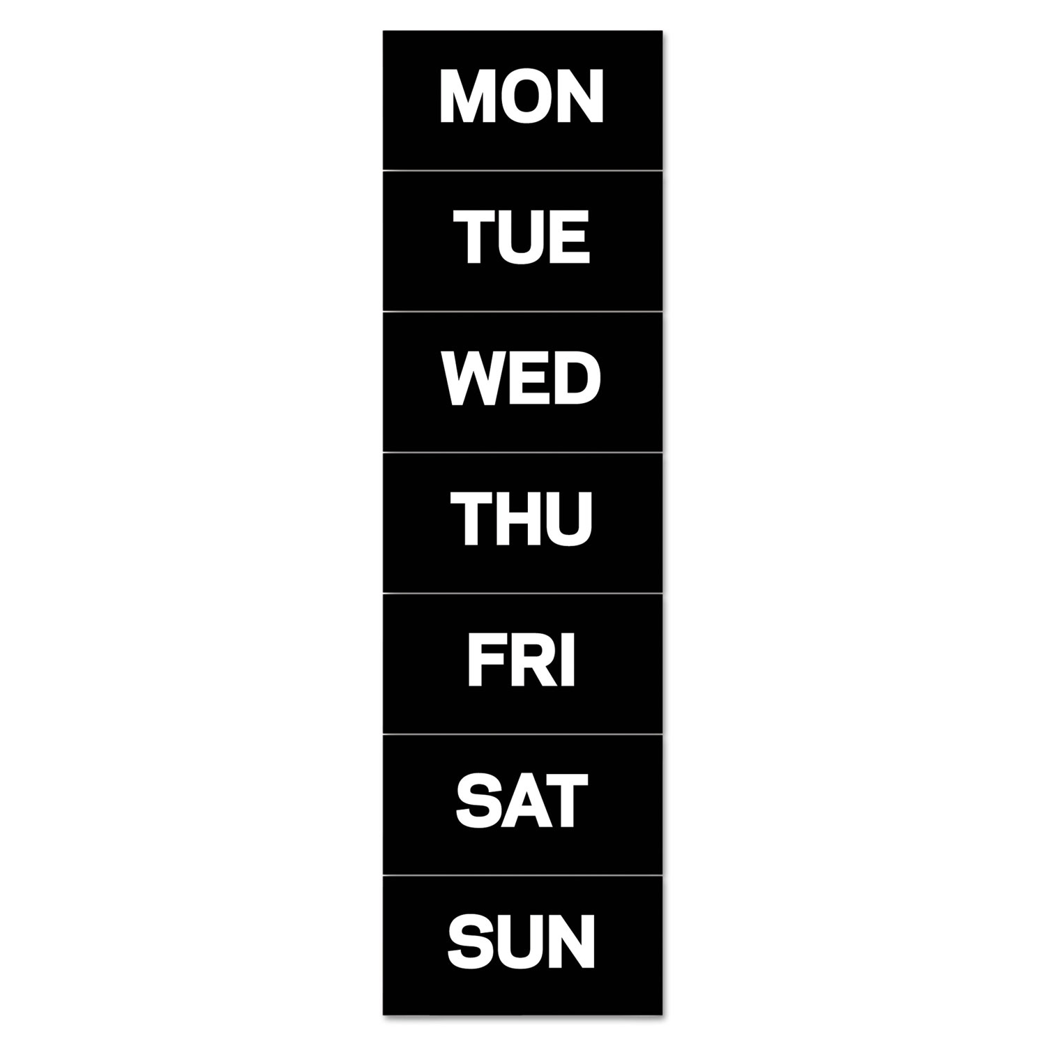 """Interchangeable Magnetic Board Accessories, Days of Week, Black/White, 2"""" x 1"""""""