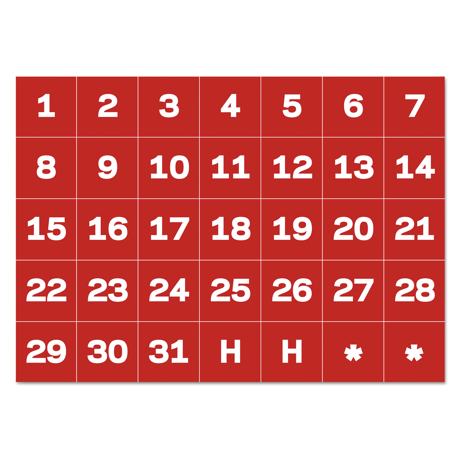 """Interchangeable Magnetic Board Accessories, Calendar Dates, Red/White, 1"""" x 1"""""""
