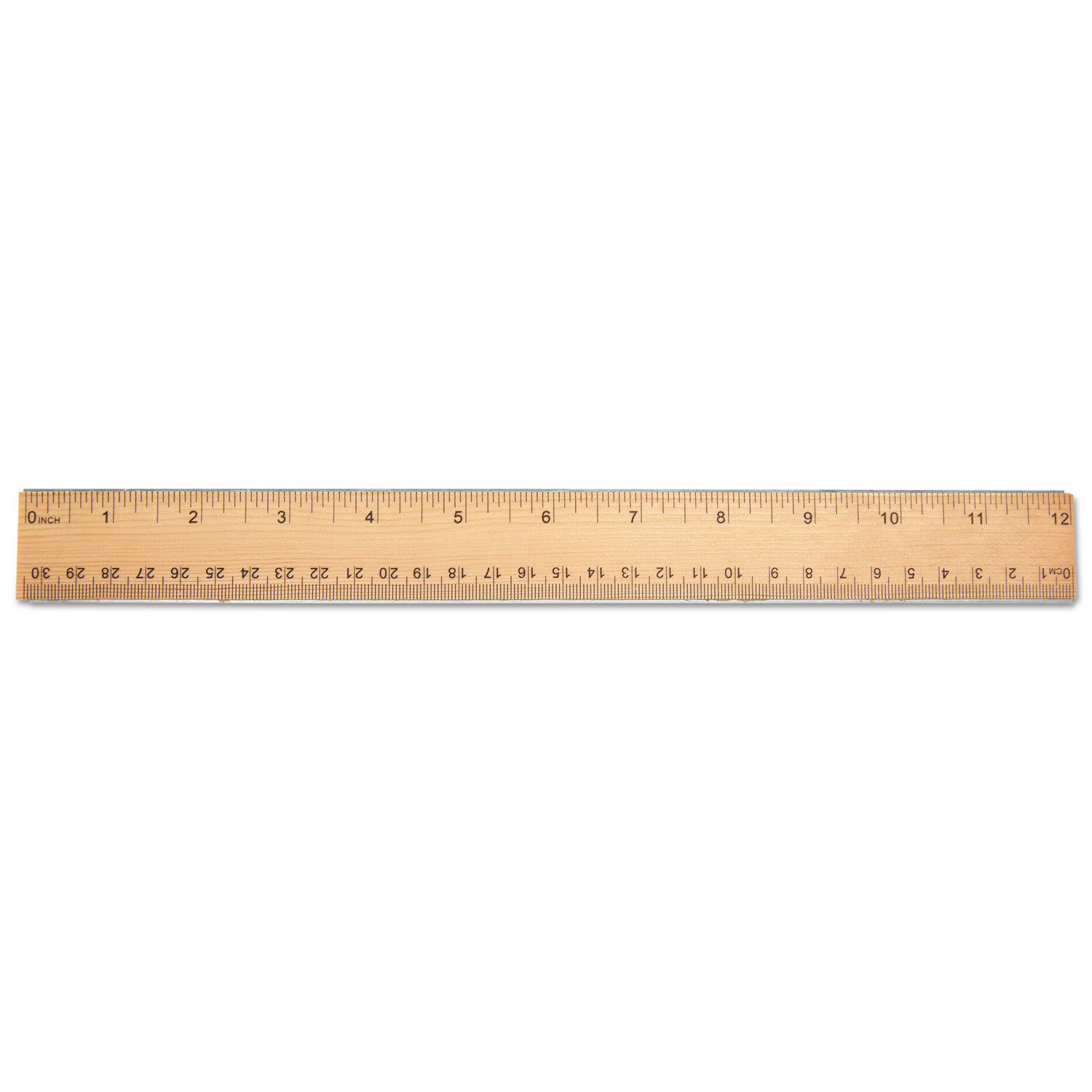 Flat Wood Ruler Wdouble Metal Edge 12 Clear Lacquer Finish