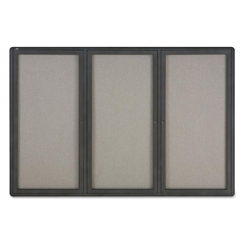 Enclosed Fabric-Cork Board, 72 x 48, Gray Surface, Graphite Aluminum Frame