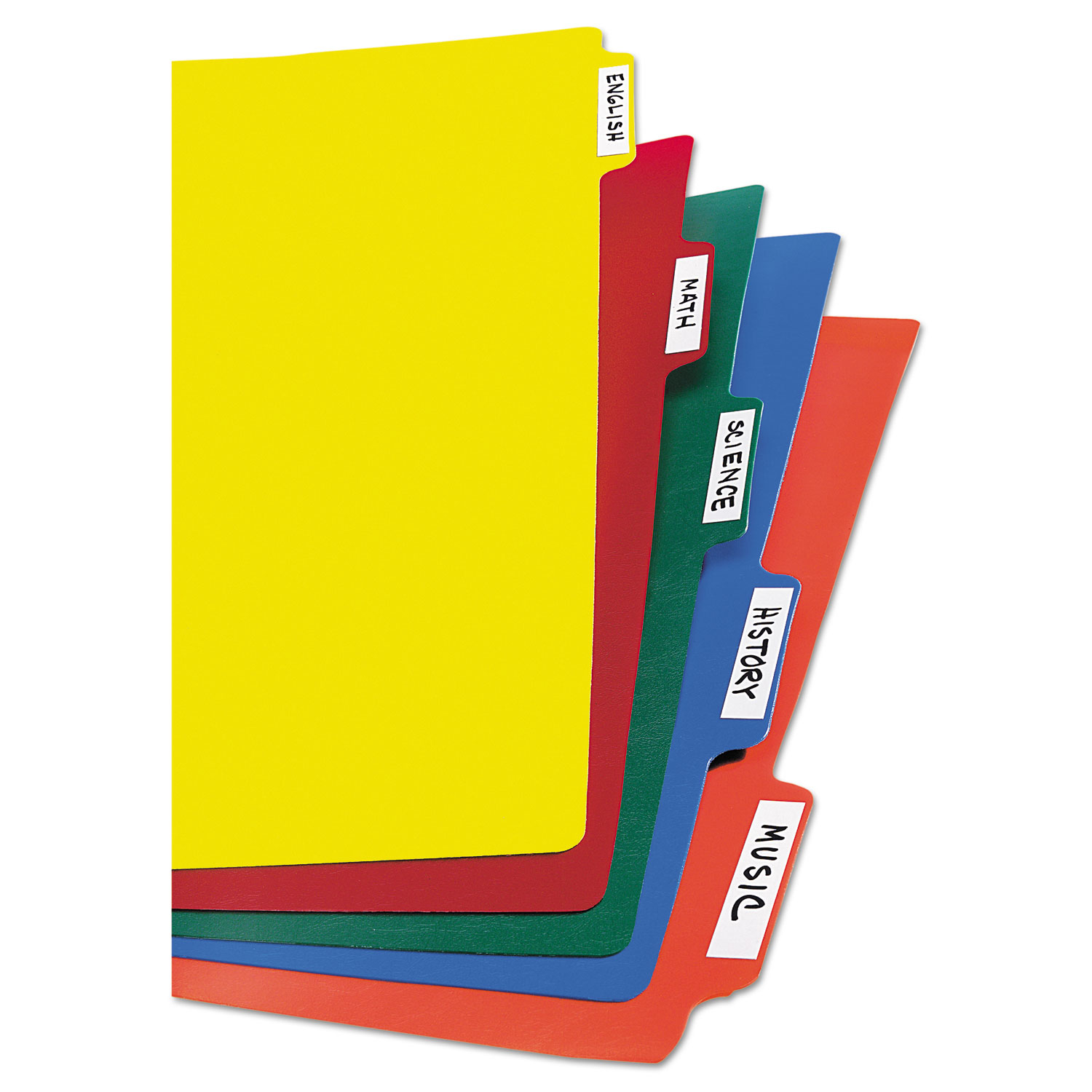 Heavy-Duty Plastic Dividers With Multicolor Tabs And White