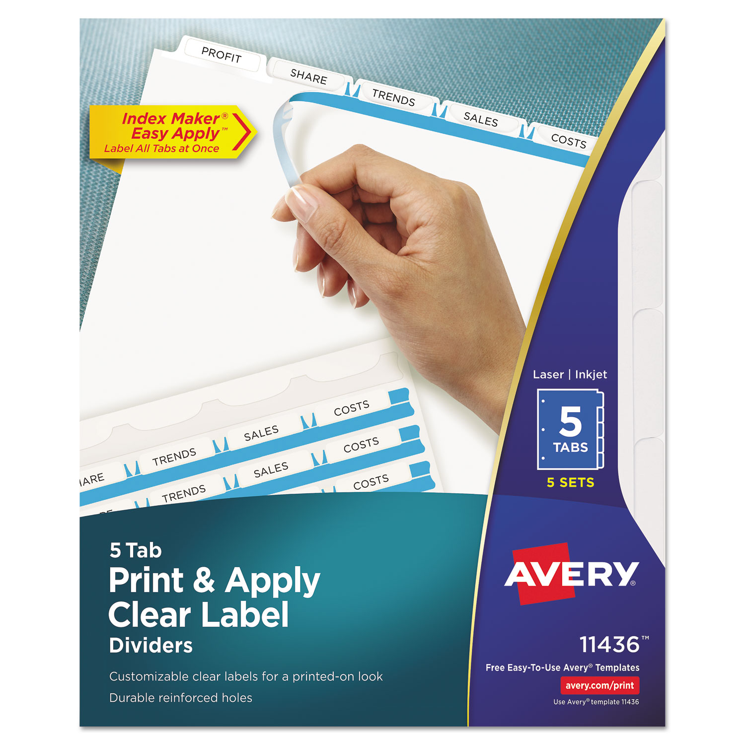 Print apply clear label dividers w white tabs by avery for How to use avery templates