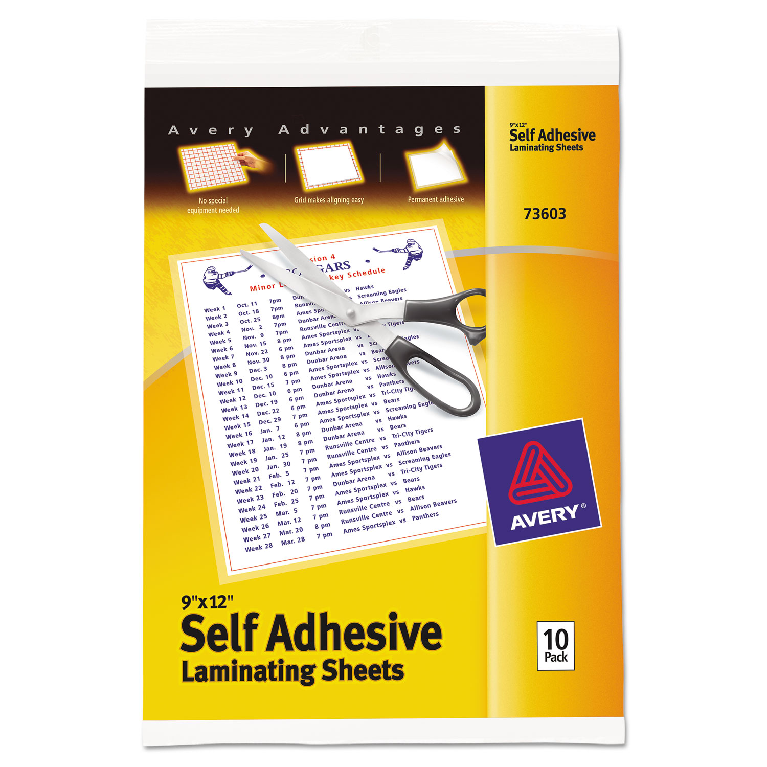 Clear Self Adhesive Laminating Sheets By Avery 174 Ave73603