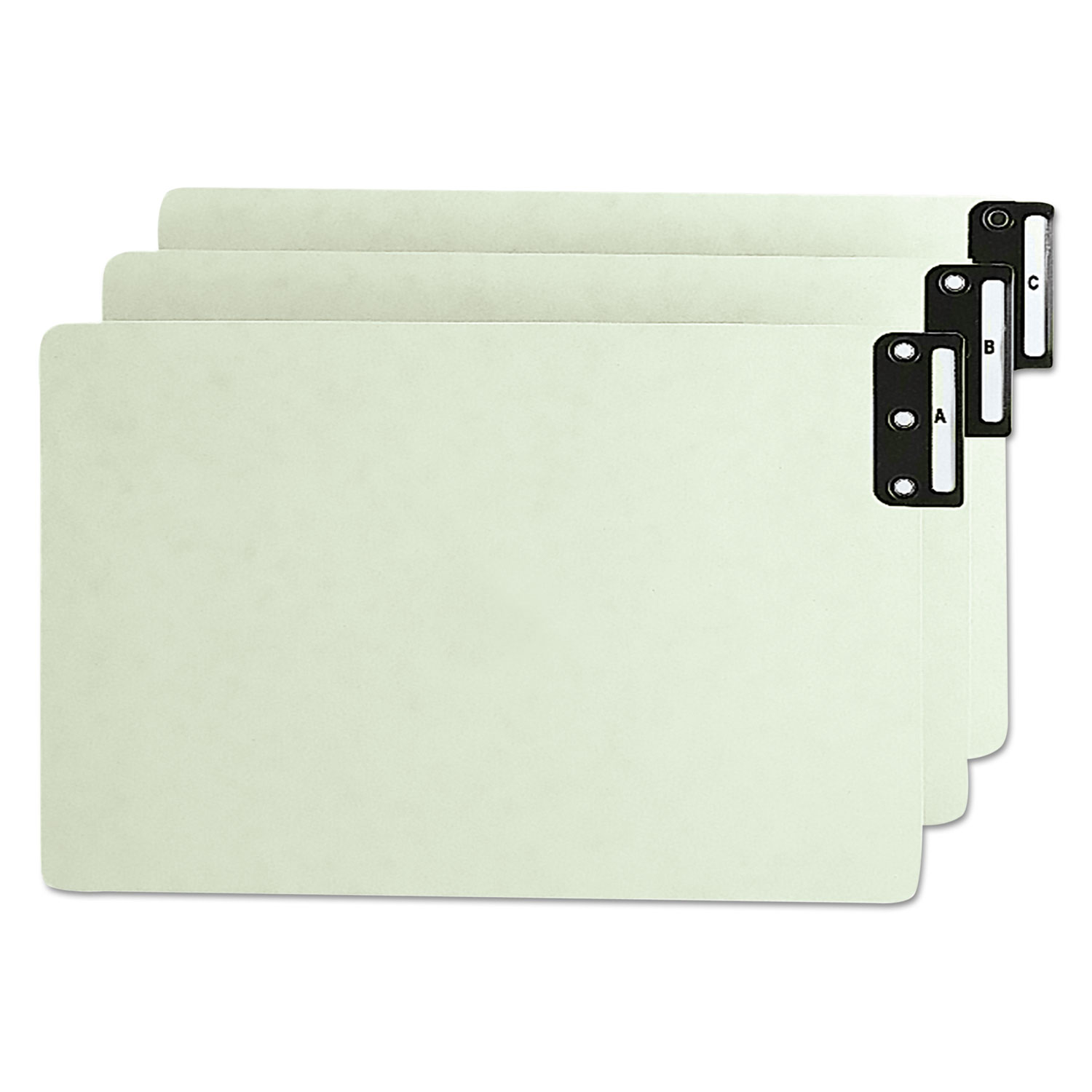 100% Recycled End Tab Pressboard Guides with Metal Tabs, 1/3-Cut End Tab, A to Z, 8.5 x 14, Green, 25/Set