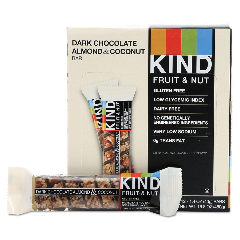 Fruit and Nut Bars, Dark Chocolate Almond and Coconut, 1.4 oz Bar, 12/Box