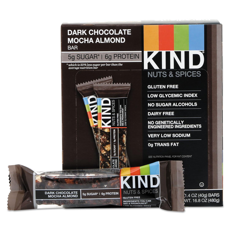 Nuts and Spices Bar, Dark Chocolate Mocha Almond, 1.4 oz Bar, 12/Box