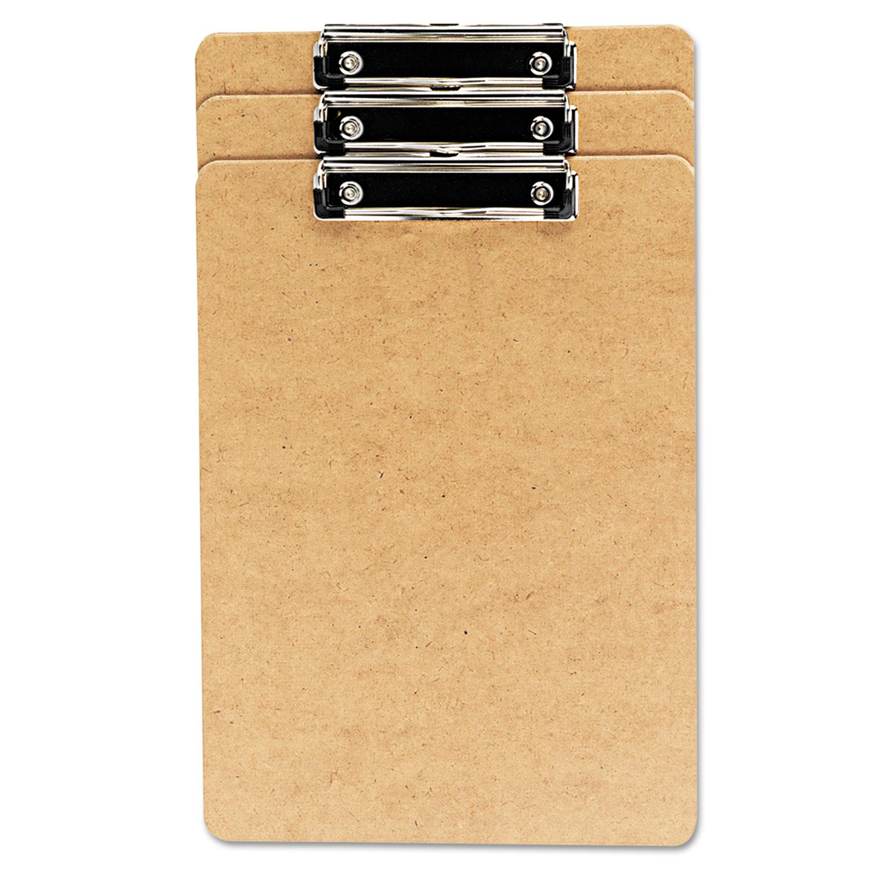 "Hardboard Clipboard, 1/2"" Capacity, Holds 8 1/2w x 14h, Brown, 3/Pack"