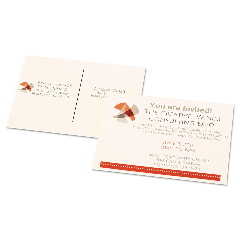 Postcards for Inkjet/Laser Printers, 4 1/4 x 5 1/2, Ivory, 4/Sheet, 100/Box