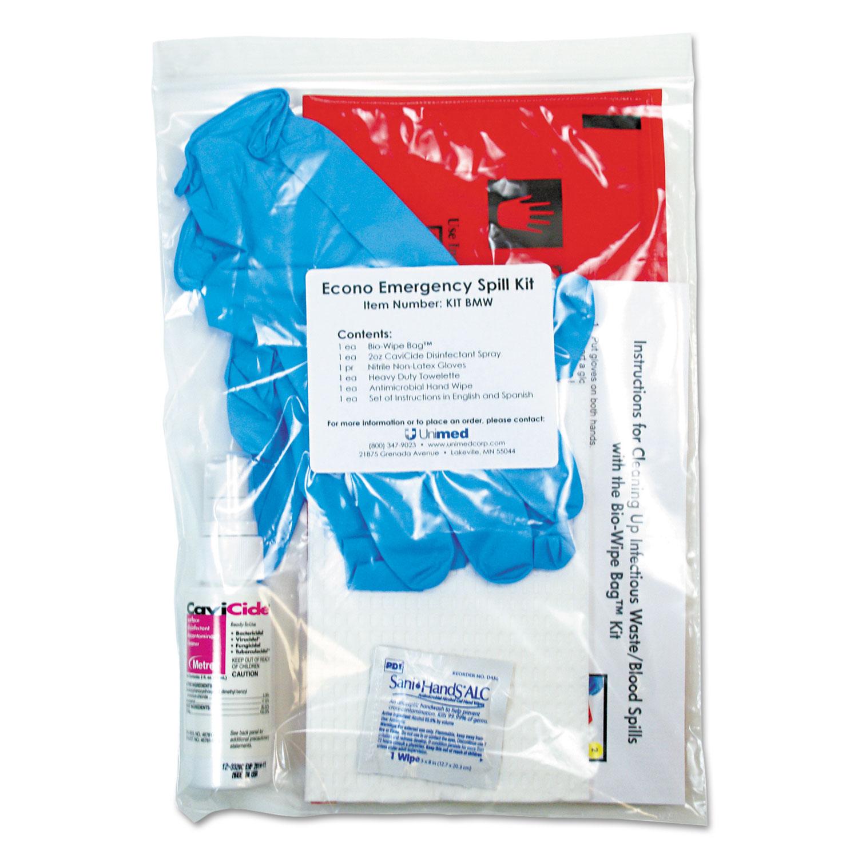 Econo Emergency Spill Kit, 7 Pieces, 9 x 12