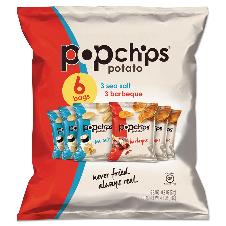 Potato Chips, BBQ/Sea Salt Flavor, 0.8 oz Bag, 6/Pack