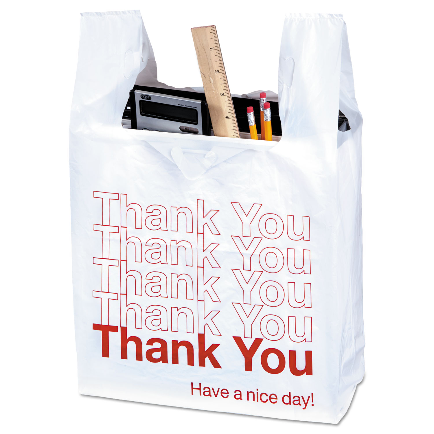 Plastic Thank You Bags 0 55 Mil 11 5 X 22 White Red 1 000 Box