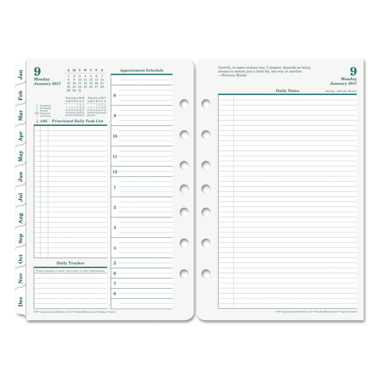 Original dated daily planner refill by franklincovey for Stephen covey calendar template