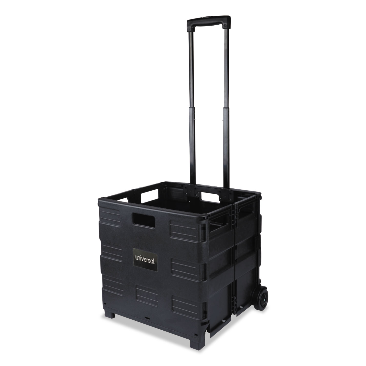 Collapsible Mobile Storage Crate, 18 1/4 x 15 x 18 1/4 to 39 3/8, Black