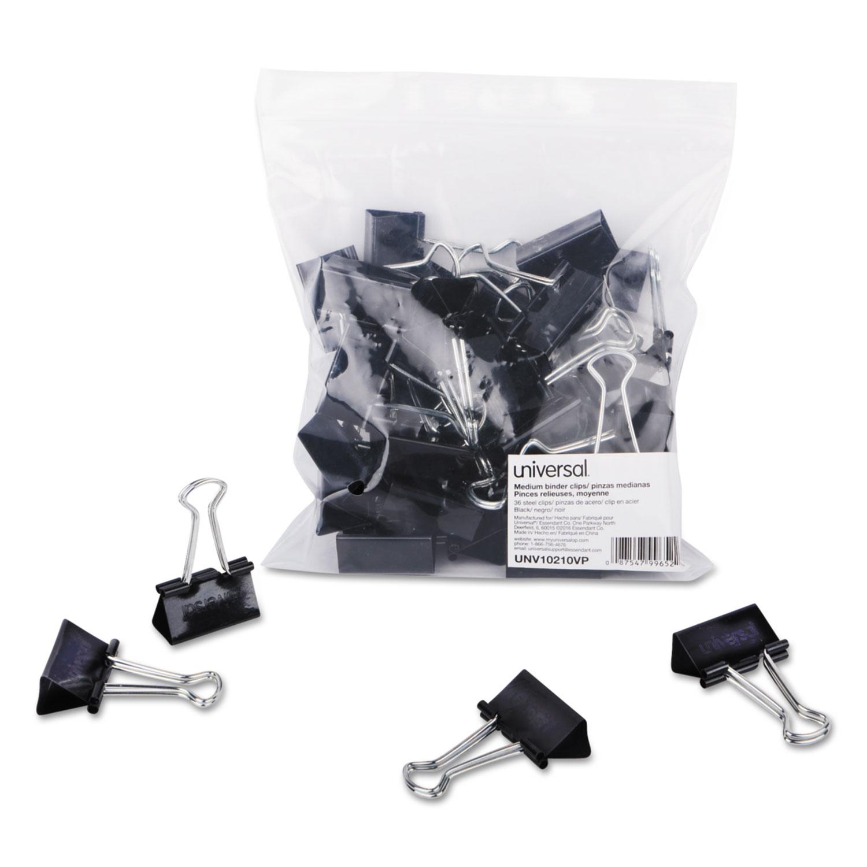 Binder Clips In Zip-Seal Bag, Medium, Black/Silver, 36