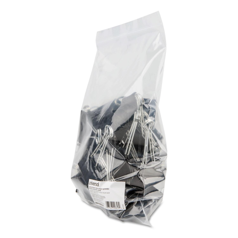 Binder Clips In Zip-Seal Bag, Large, Black/Silver, 36/Pack