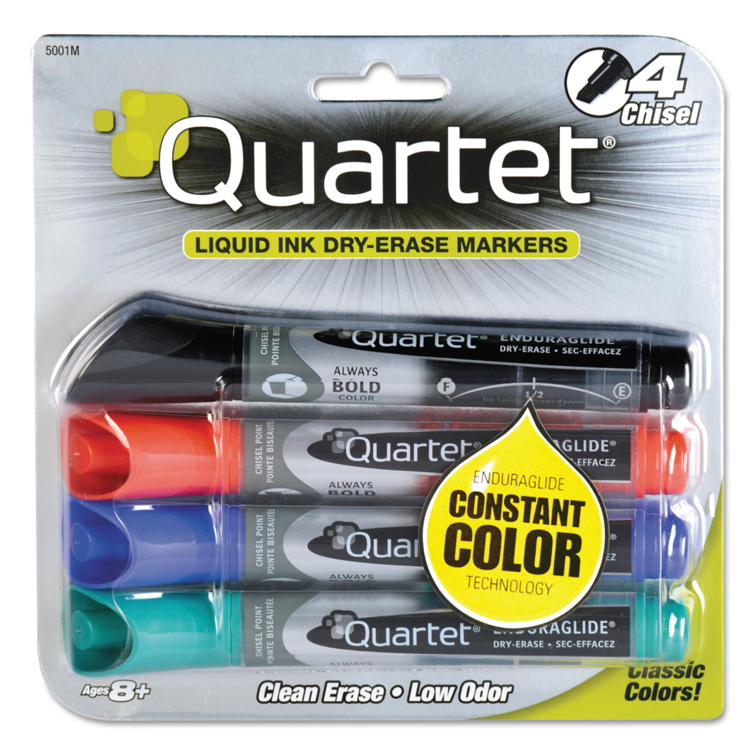 4 Assorted Chisel Point Dry Erase Markers Red Green Blue Black
