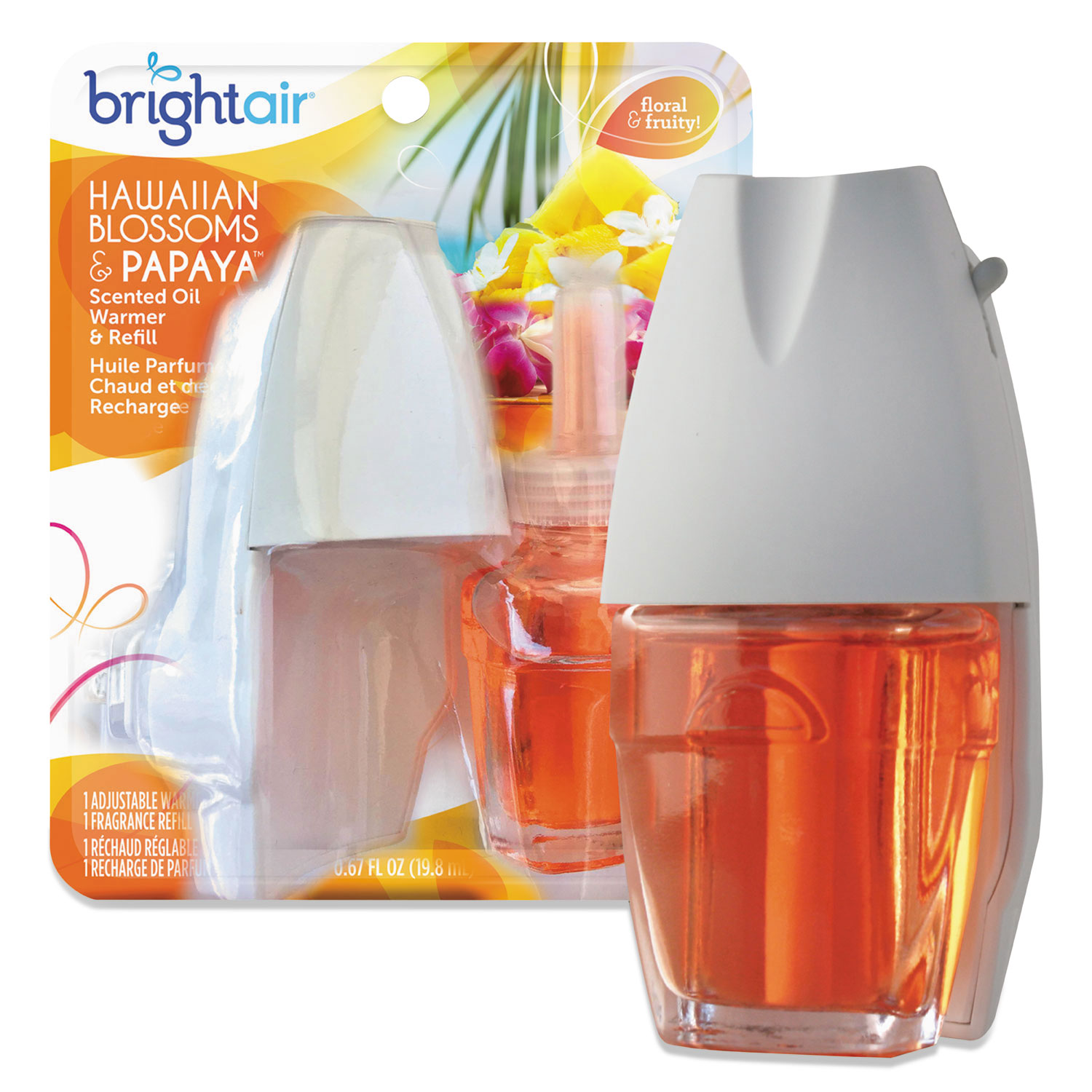 Electric Scented Oil Air Freshener Warmer and Refill Combo, Hawaiian Blossoms and Papaya