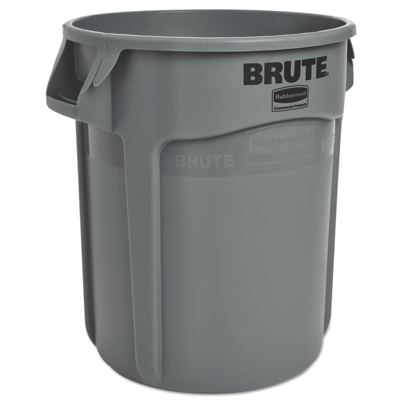 Round Brute Container, Plastic, 20 gal, Gray