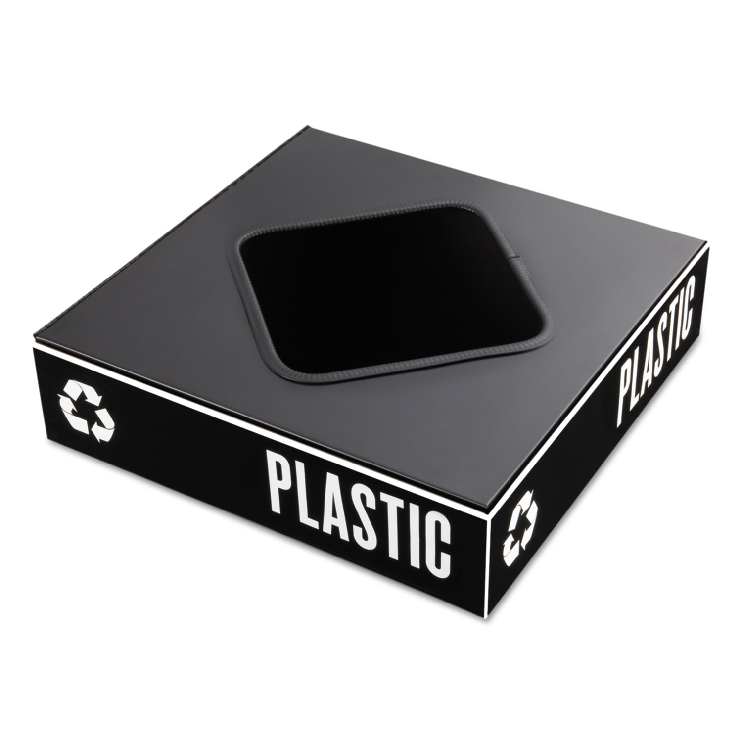 Public Square Recycling Container Lid, Square Opening, 15 25 x 15 25 x 2,  Black