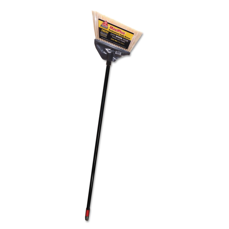 """MaxiPlus Professional Angle Broom, Polystyrene Bristles, 51"""" Handle, Black"""