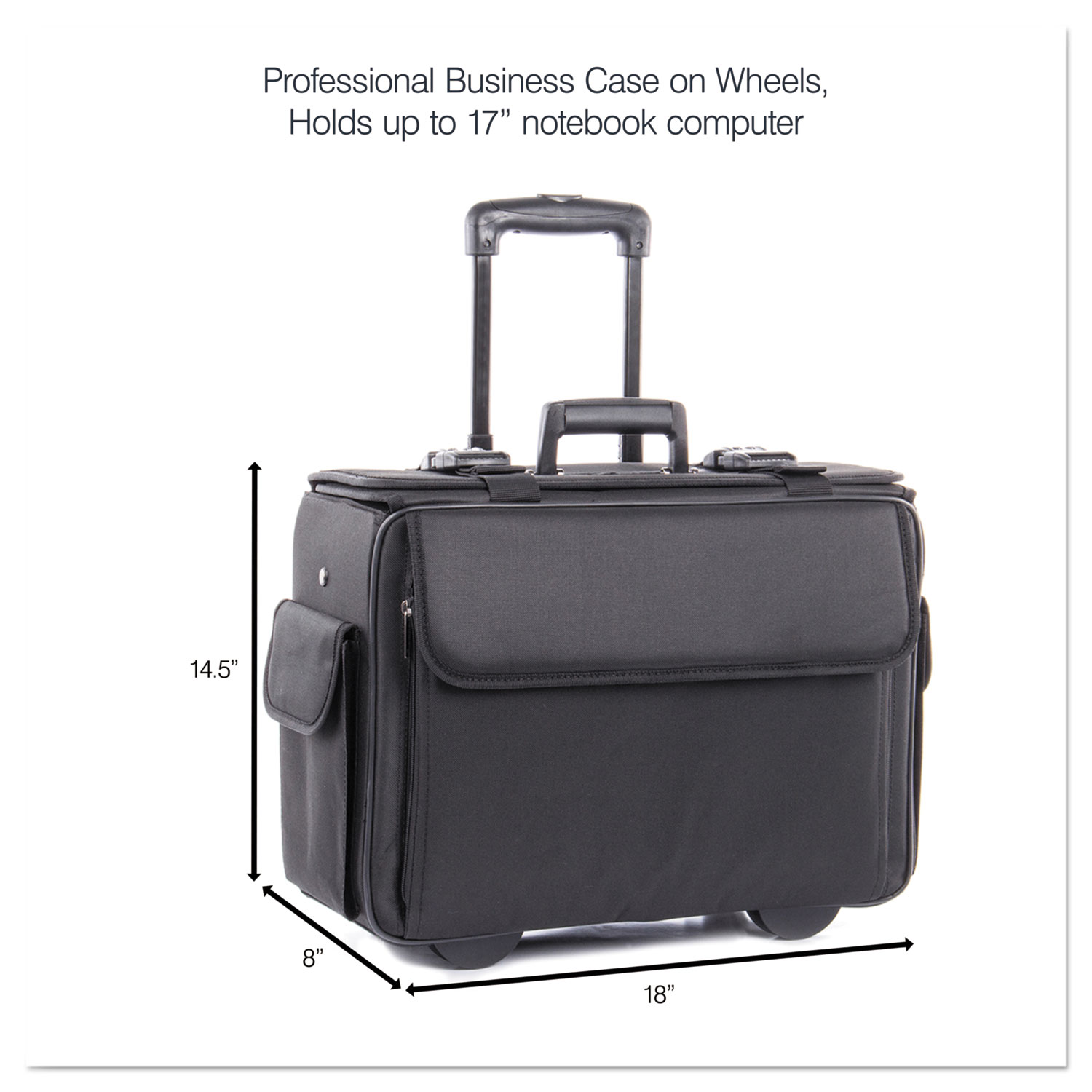 bc513ca5157c Catalog/Computer Case on Wheels, Nylon, 18 x 8 x 13, Black