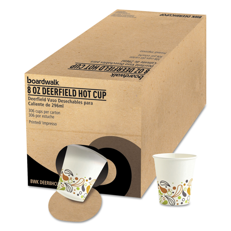 Convenience Pack Paper Hot Cups, 8 oz, Deerfield Print, 9 Cups/Sleeve, 34 Sleeves/Carton