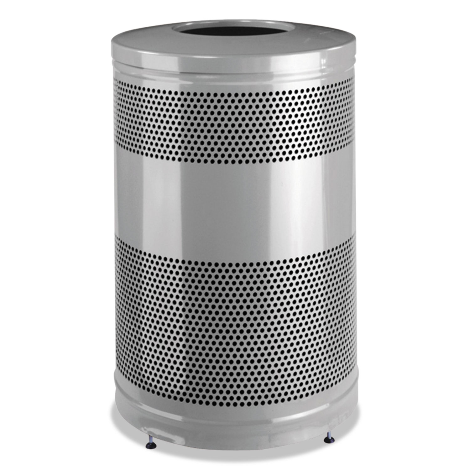Classics Open Top Waste Receptacle, 51 gal, Stardust Silver Metallic with Black Lid