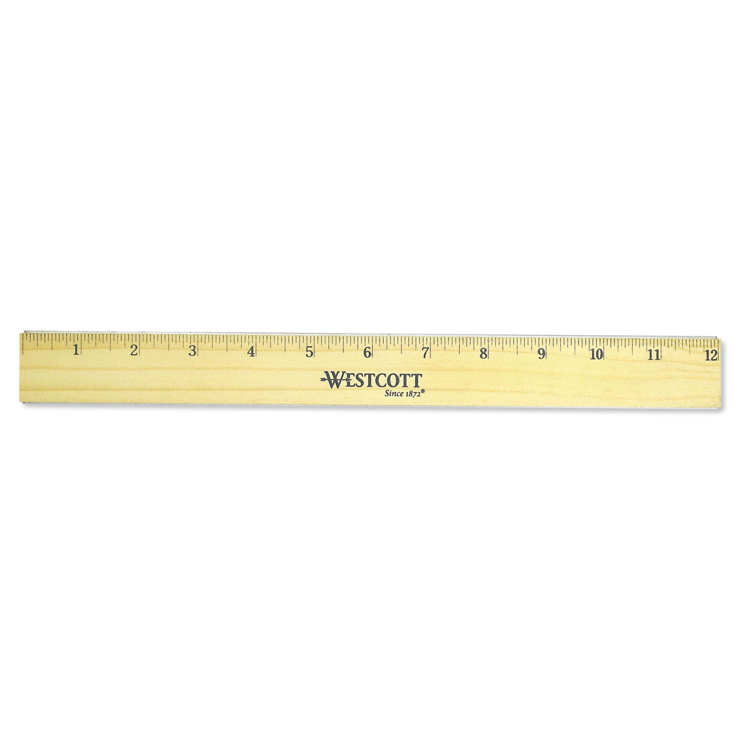 "Flat Wood Ruler w/Two Double Brass Edges, 12"", Clear Lacquer Finish"