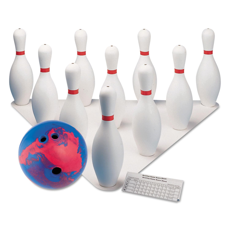Bowling Set, Plastic/Rubber, White, 1 Ball/10 Pins/Set