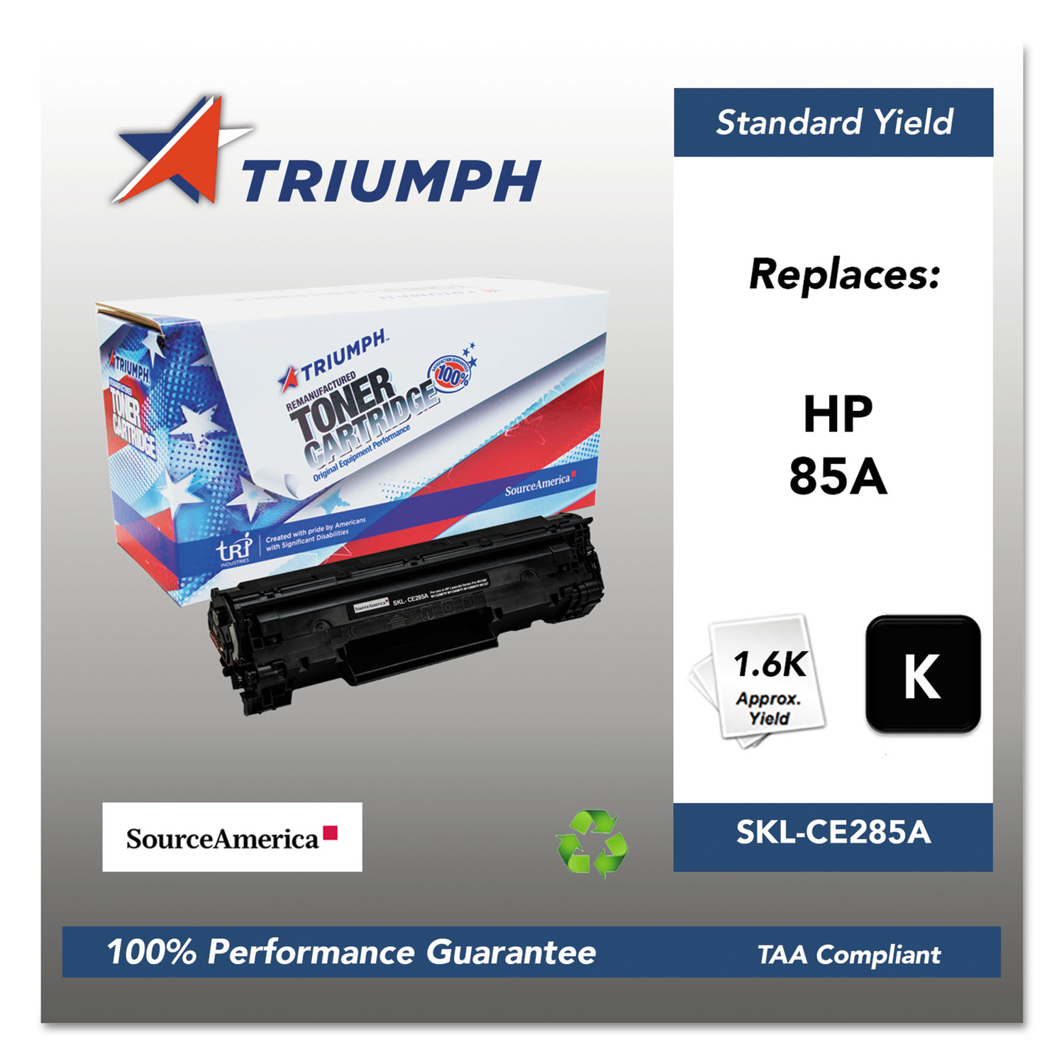 751000NSH1100 Remanufactured CE285A (85A) Toner, 1600 Page-Yield, Black