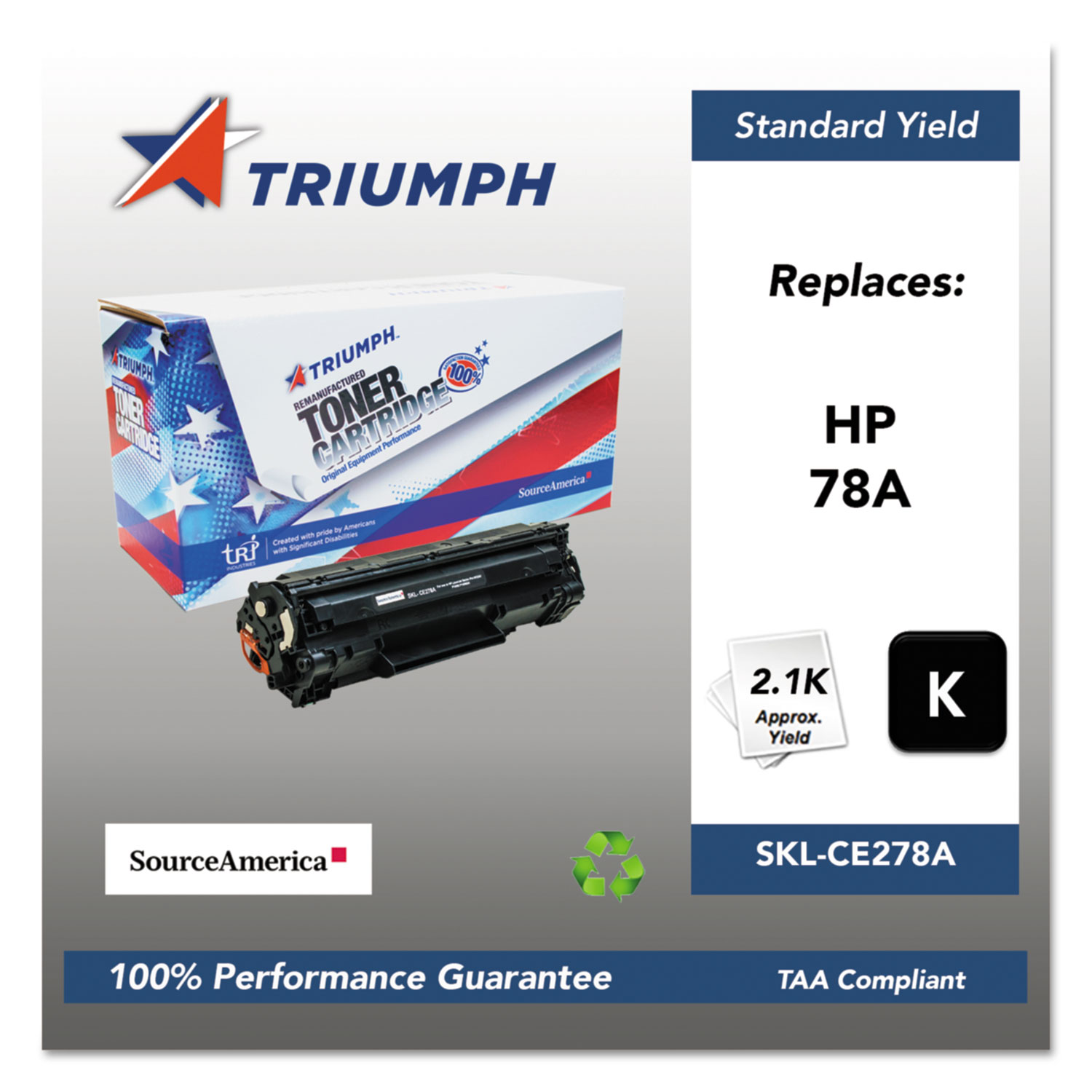 751000NSH1099 Remanufactured CE278A (78A) Toner, 2100 Page-Yield, Black